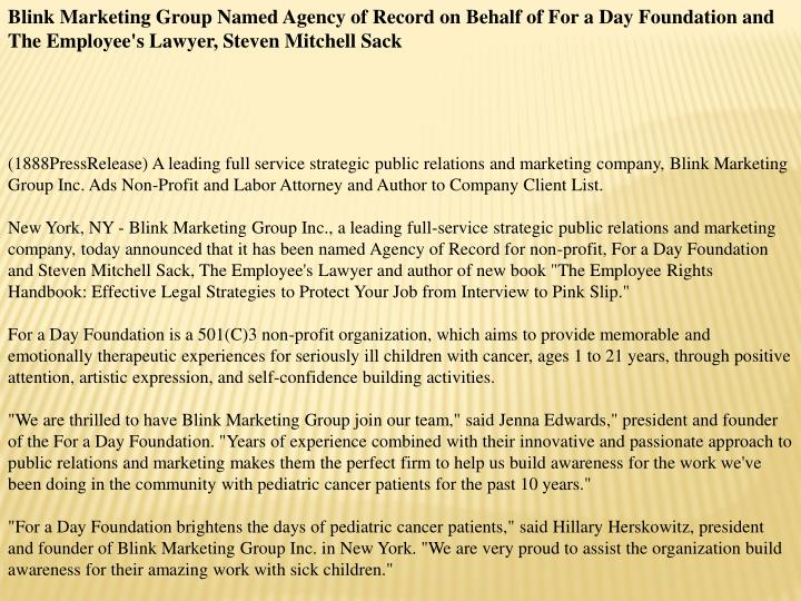 Blink Marketing Group Named Agency of Record on Behalf of For a Day Foundation and The Employee's La...