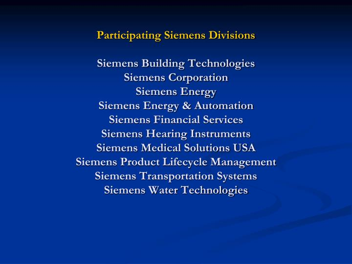 Participating Siemens Divisions