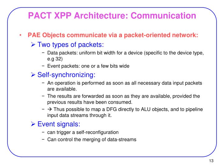 PACT XPP Architecture: Communication