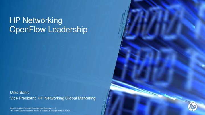 hp networking openflow leadership