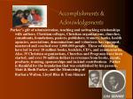 accomplishments acknowledgements