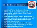 idle reduction successes
