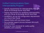 unified communications open interoperability program