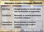 alternative creative strategies generic