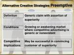 alternative creative strategies p reemptive