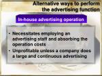 alternative ways to perform the advertising function