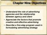chapter nine objectives
