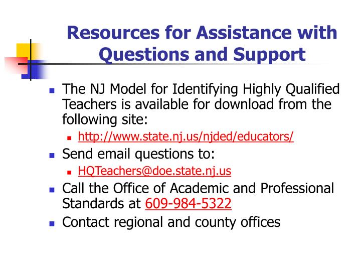 Resources for Assistance with