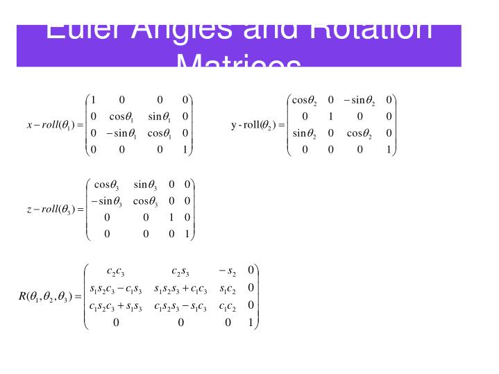 Euler Angles and Rotation Matrices