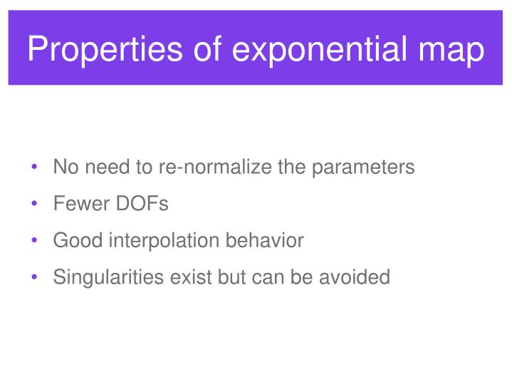 Properties of exponential map
