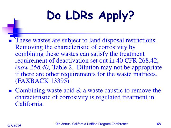 Do LDRs Apply?