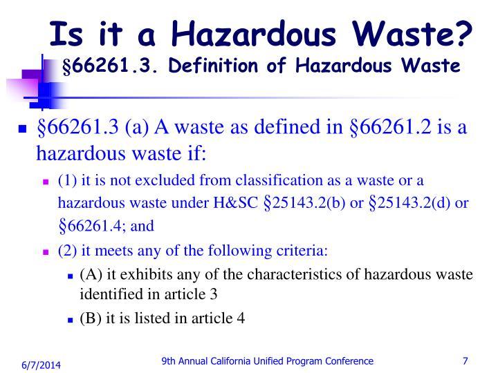 Is it a Hazardous Waste?