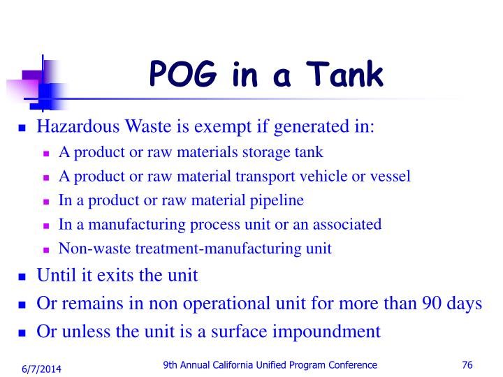 POG in a Tank