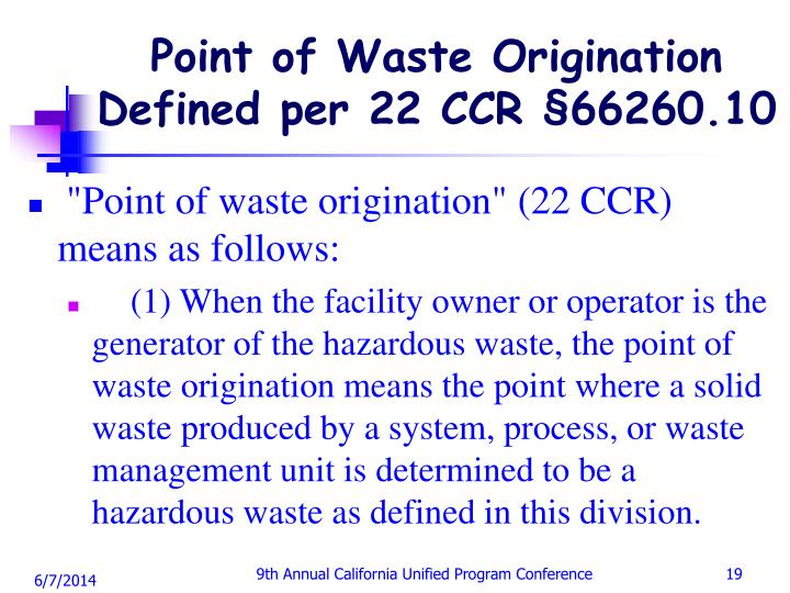 Point of Waste Origination