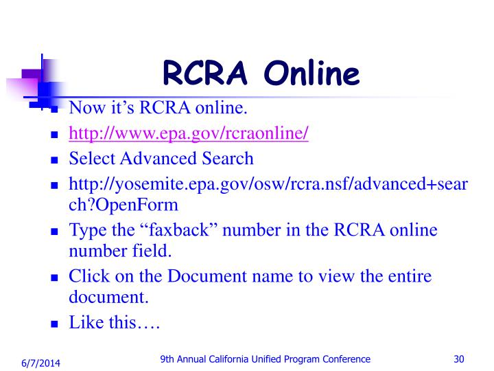 RCRA Online