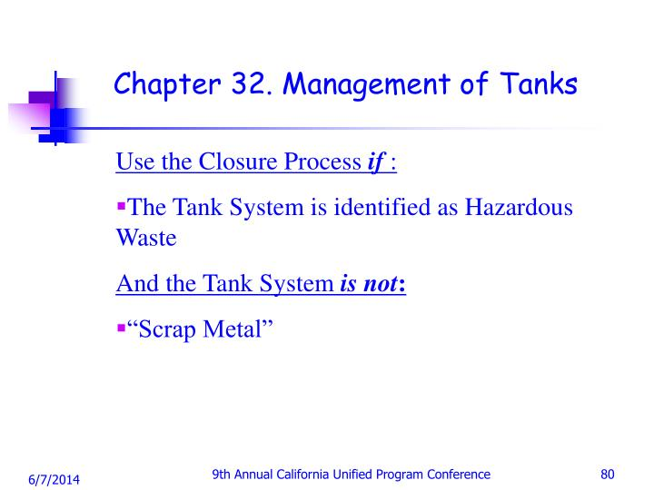 Chapter 32. Management of Tanks