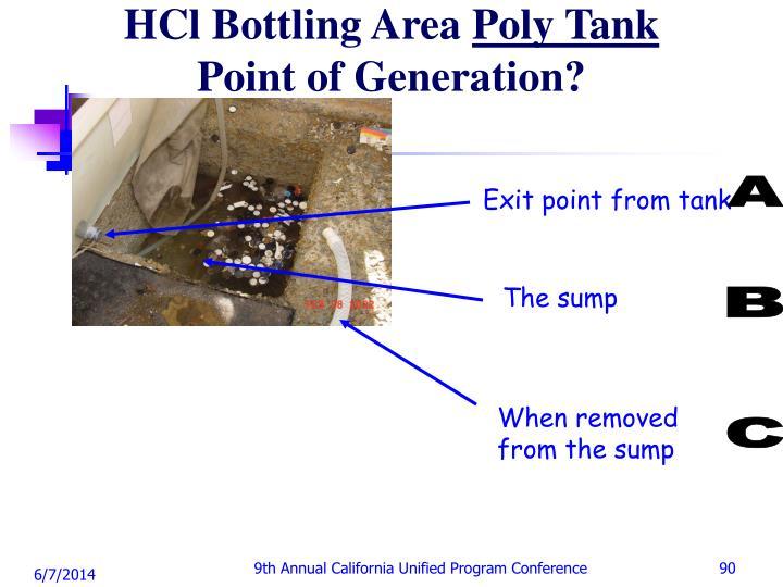 HCl Bottling Area