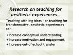 research on teaching for aesthetic experiences