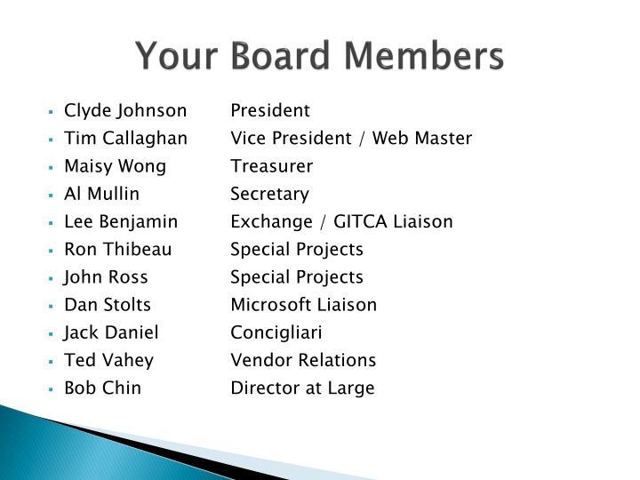 Your Board Members
