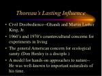thoreau s lasting influence