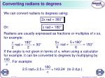 converting radians to degrees
