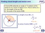 finding chord length and sector area