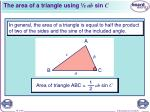 the area of a triangle using ab sin c1