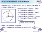 using radians to measure arc length