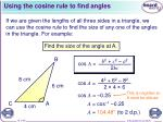 using the cosine rule to find angles