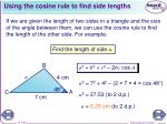 using the cosine rule to find side lengths