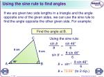 using the sine rule to find angles