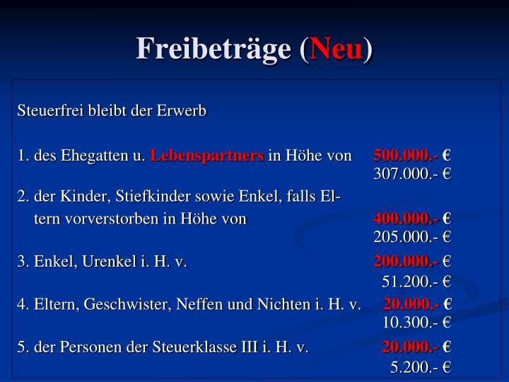 Freibeträge (