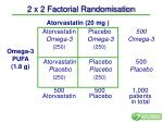 2 x 2 factorial randomisation