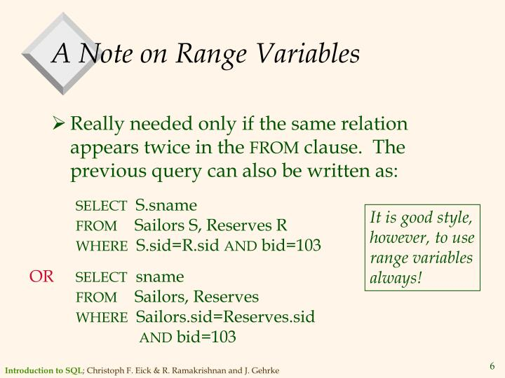 A Note on Range Variables