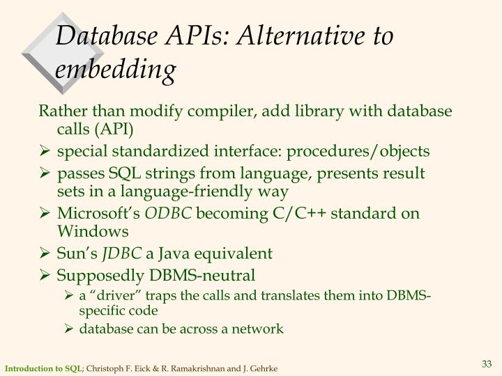 Database APIs: Alternative to embedding