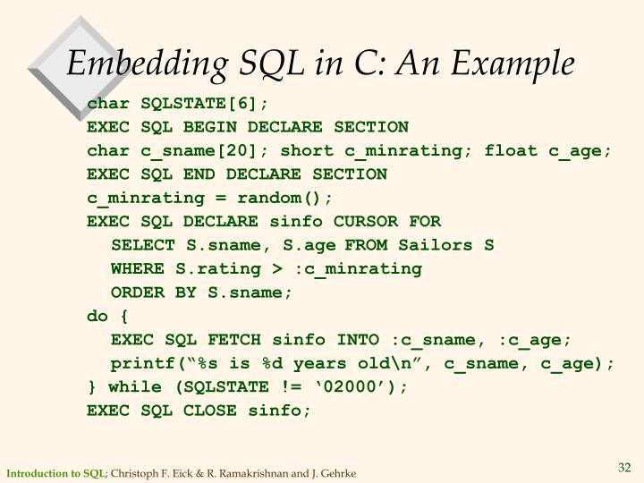 Embedding SQL in C: An Example