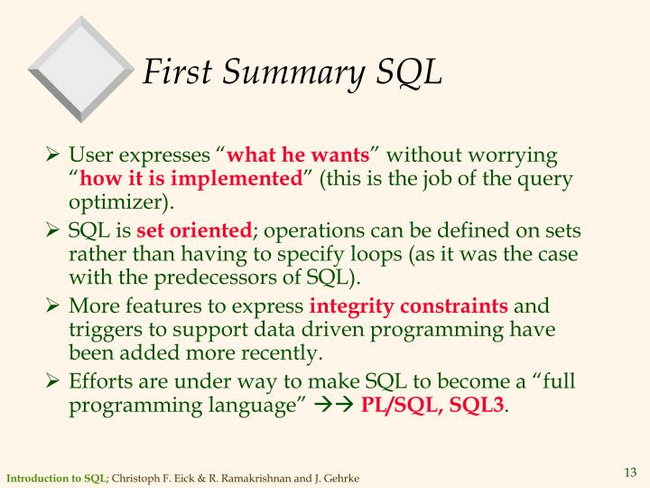 First Summary SQL