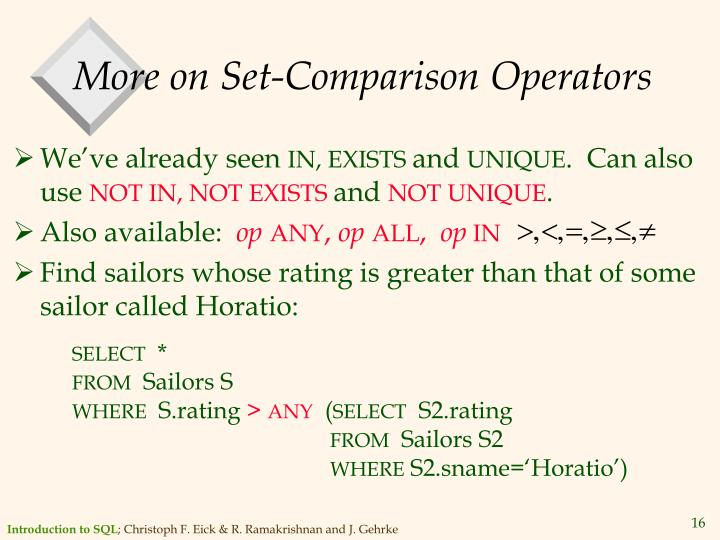 More on Set-Comparison Operators