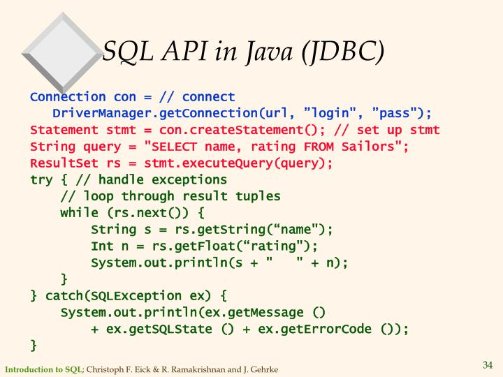 SQL API in Java (JDBC)
