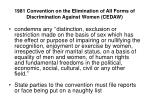 1981 convention on the elimination of all forms of discrimination against women cedaw