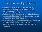 behavior as object in oop