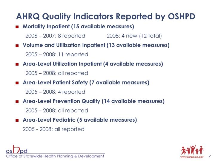 AHRQ Quality Indicators Reported by OSHPD