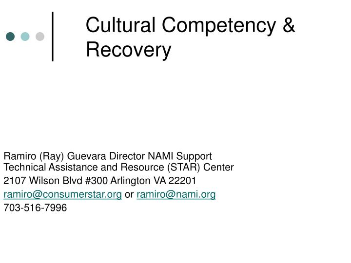 cultural competency recovery n.