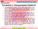 parametric vs non parametric models ii