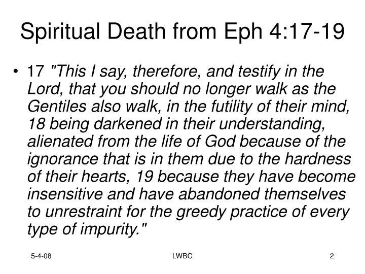 Spiritual death from eph 4 17 19