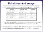 primitives and arrays