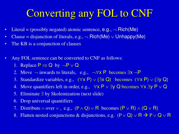 Converting any FOL to CNF