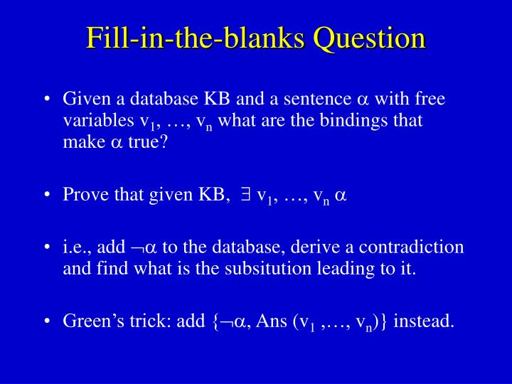 Fill-in-the-blanks Question