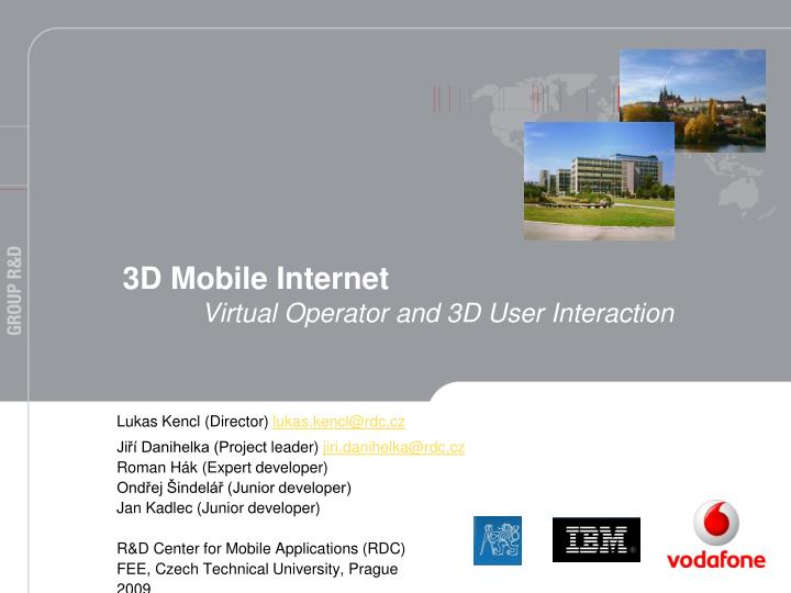 3d mobile internet virtual operator and 3d user interaction n.