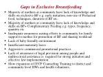 gaps in exclusive breastfeeding